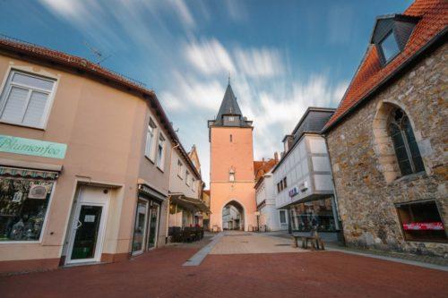 Innenstadt Helmstedt mit Hausmannsturm.
