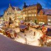 Der Weihnachtsmarkt in Helmstedt mit Schnee.