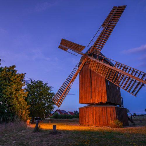 Bockwindmühle Abbenrode bei Nacht